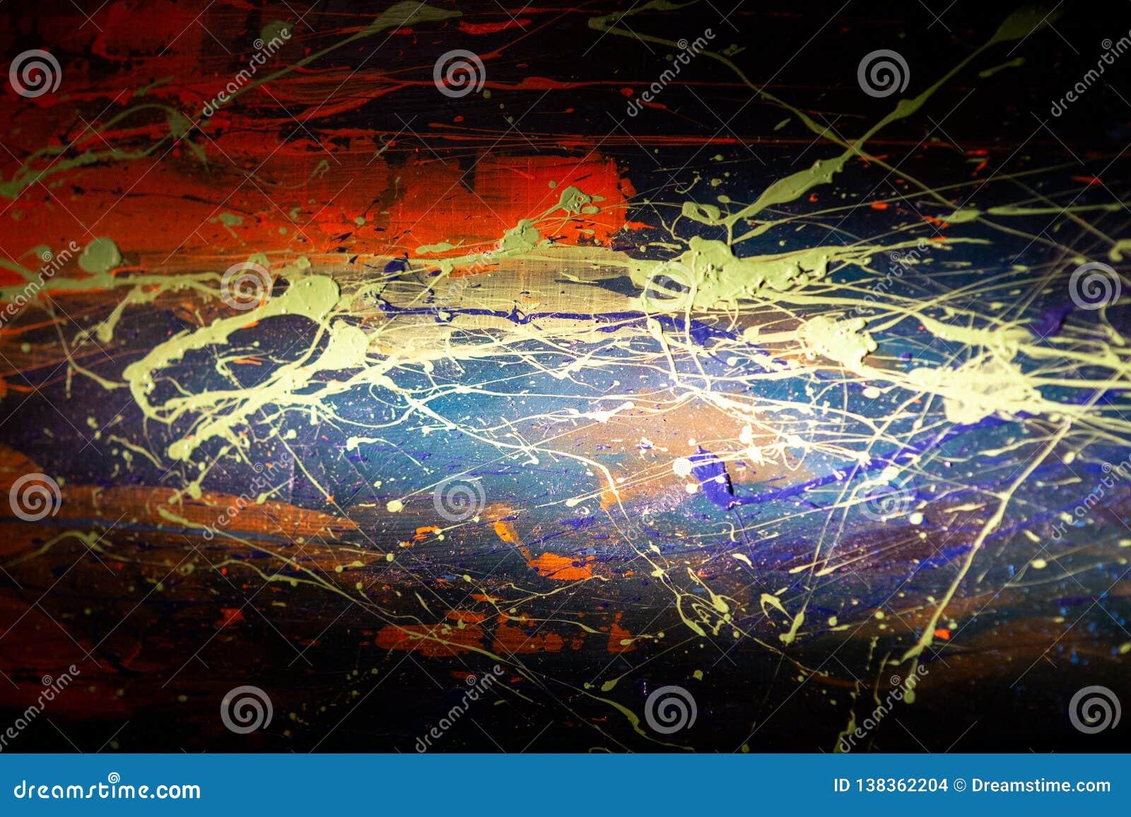 Texture abstraite jaune rouge bleue de peinture à l huile sur la toile, fond