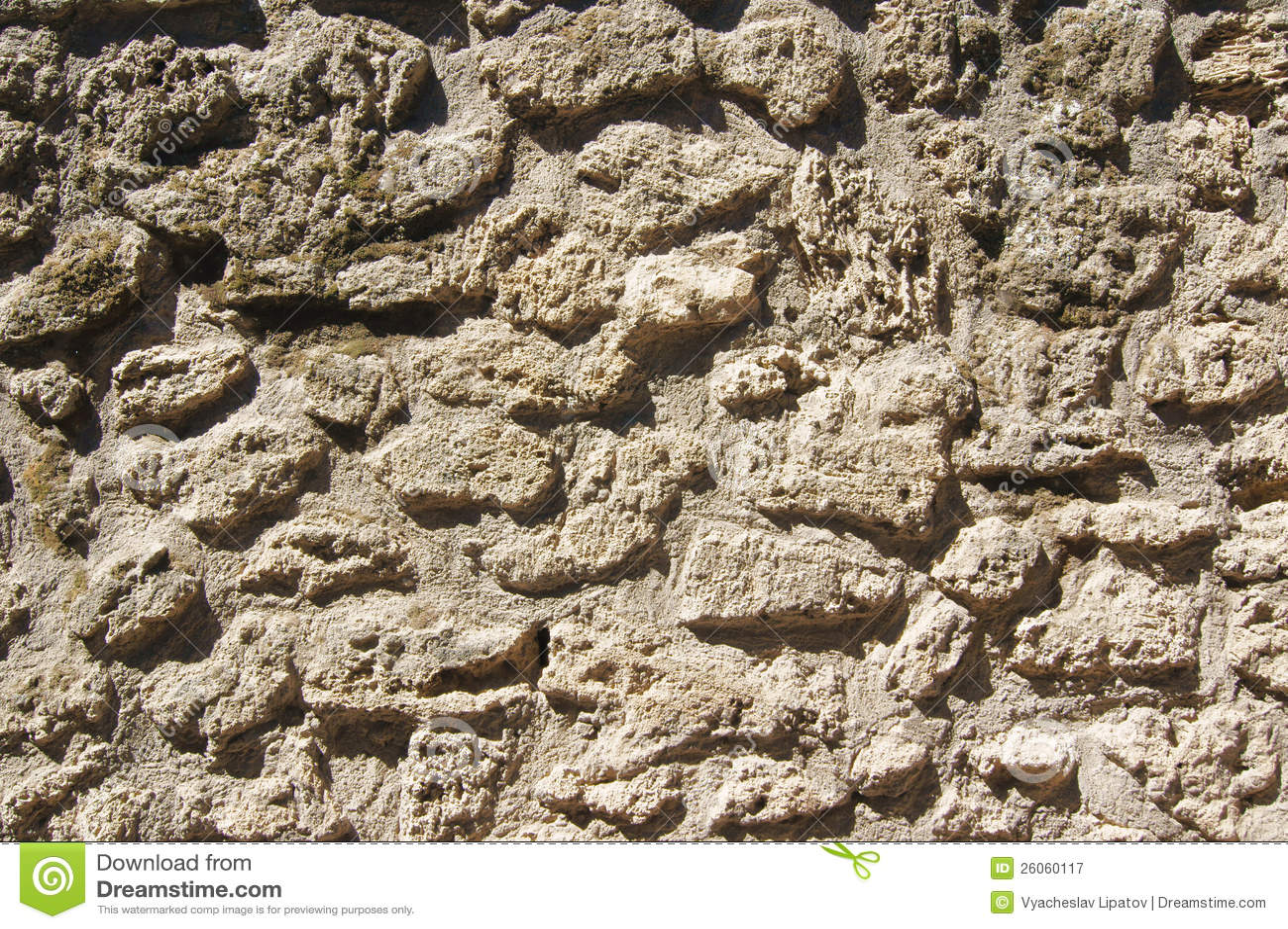 The texture of ancient masonry lava stone