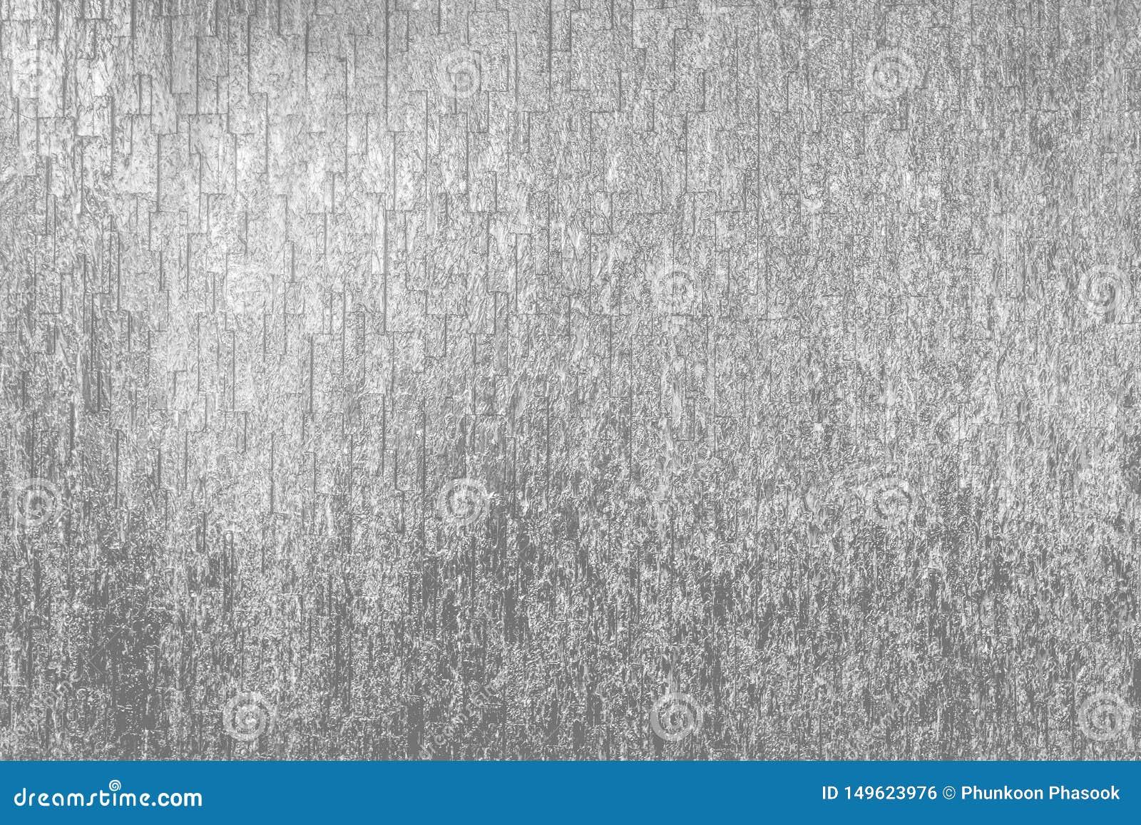 Texture argentée brillante et fond de mur en pierre