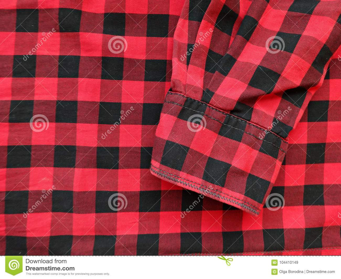 Cotton Fabric In A Black And Red Checkered Stock Image Image Of