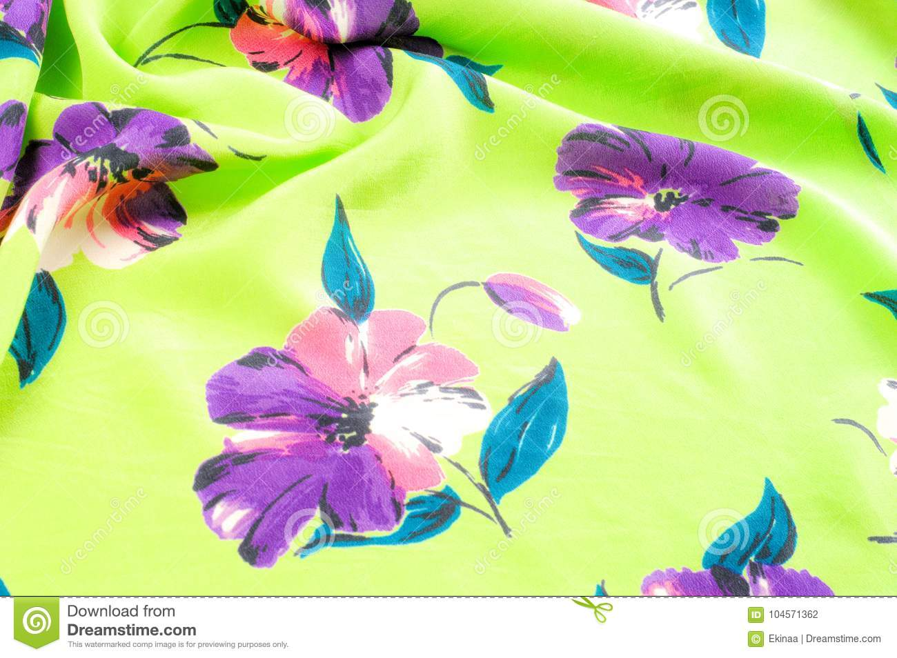 Texture Background Pattern Silk Fabric Green With Flowers
