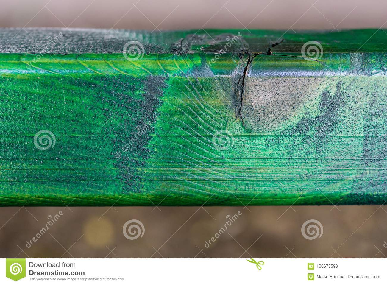 Texture of bench painted in green color