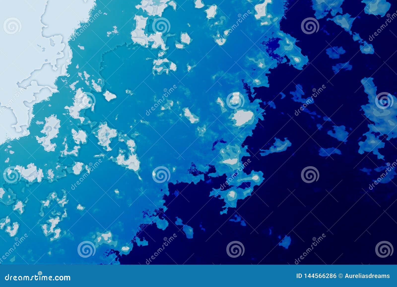 Texture blanche, bleue et cyan de fond Carte abstraite avec le rivage du nord, mer, océan, glace, montagnes, nuages