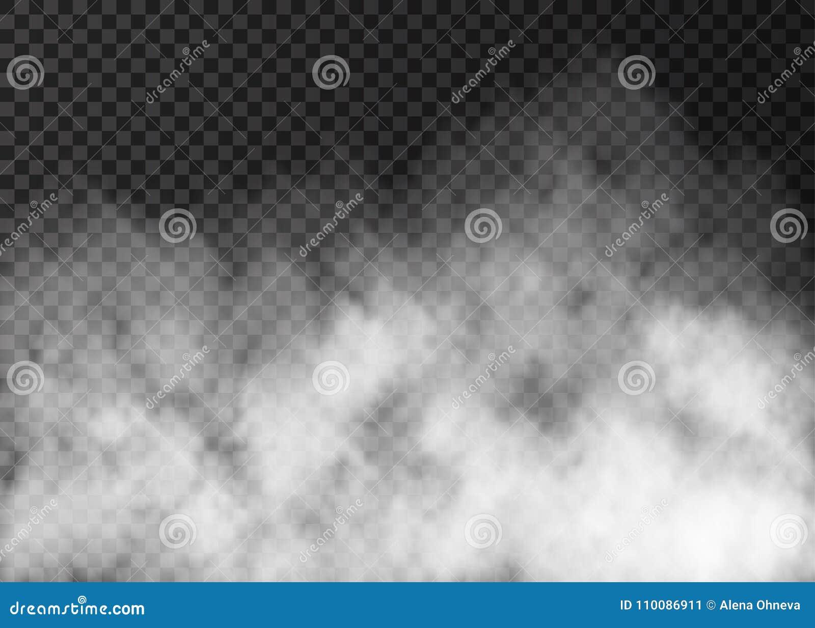 Texture blanche de fumée sur le fond transparent