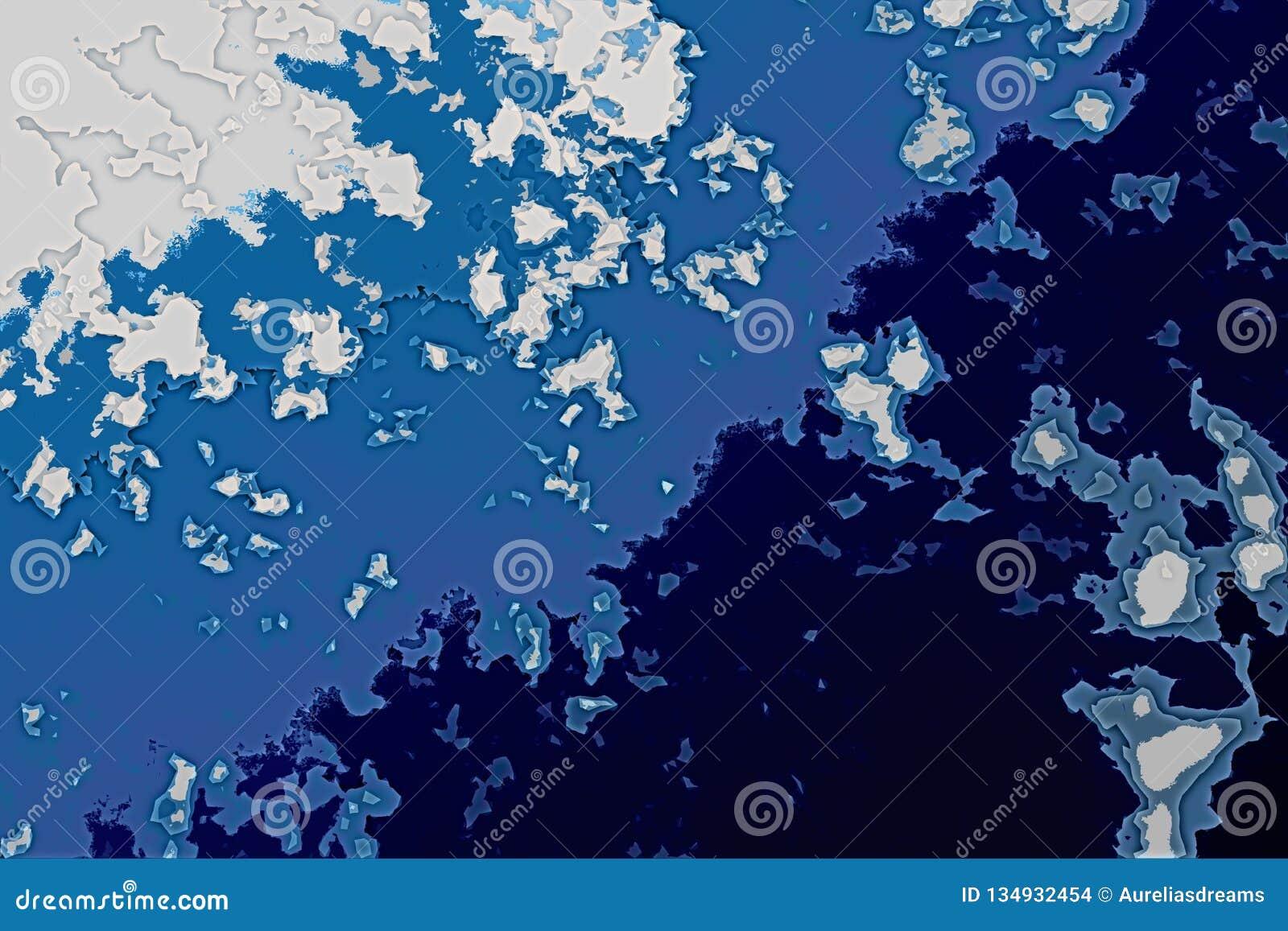 Texture blanche et bleue de fond Carte abstraite avec le rivage du nord, mer, océan, glace, montagnes, nuages