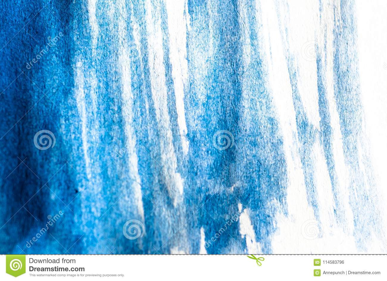 Texture of blue watercolor paint on white paper. Horizontal background with stains of watercolour brush strokes.