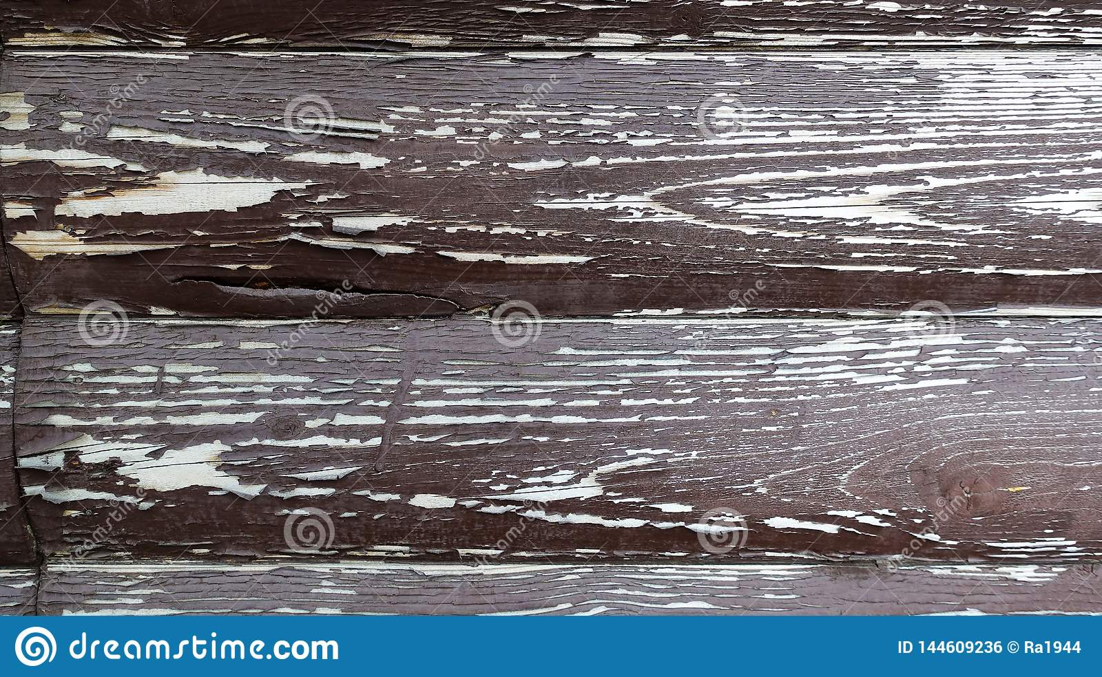 The texture of the board with peeling paint. Abstract background for design. Brown with white rounded boards . Wall panel