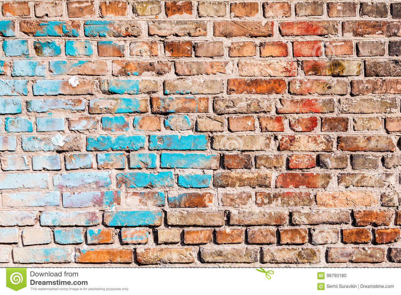 The Texture Of The Brick Wall Painted With Old Paint Stock Photo