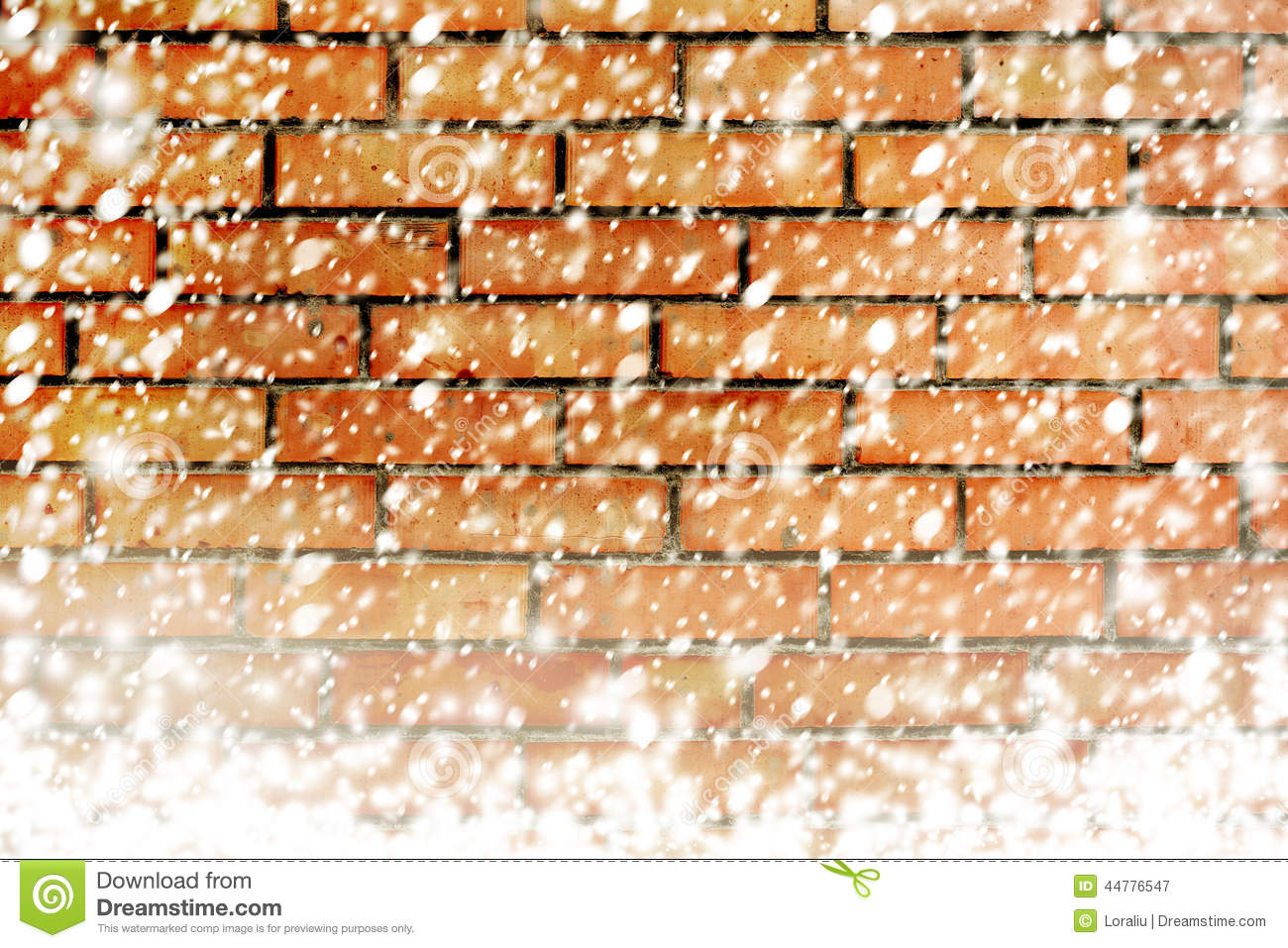 Texture of brick wall with white snow flakes