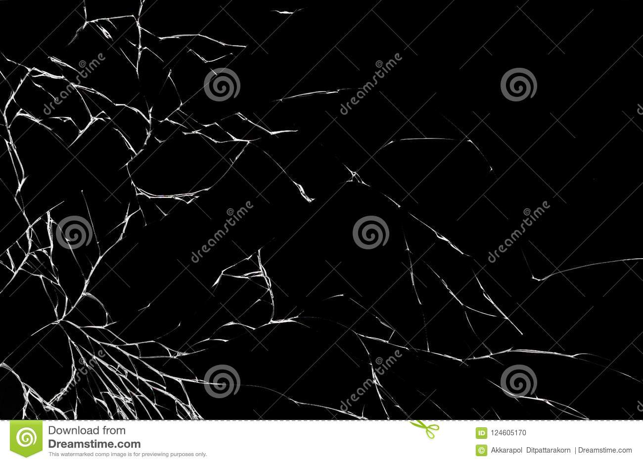 Texture of broken mobile phone screen opn white background.