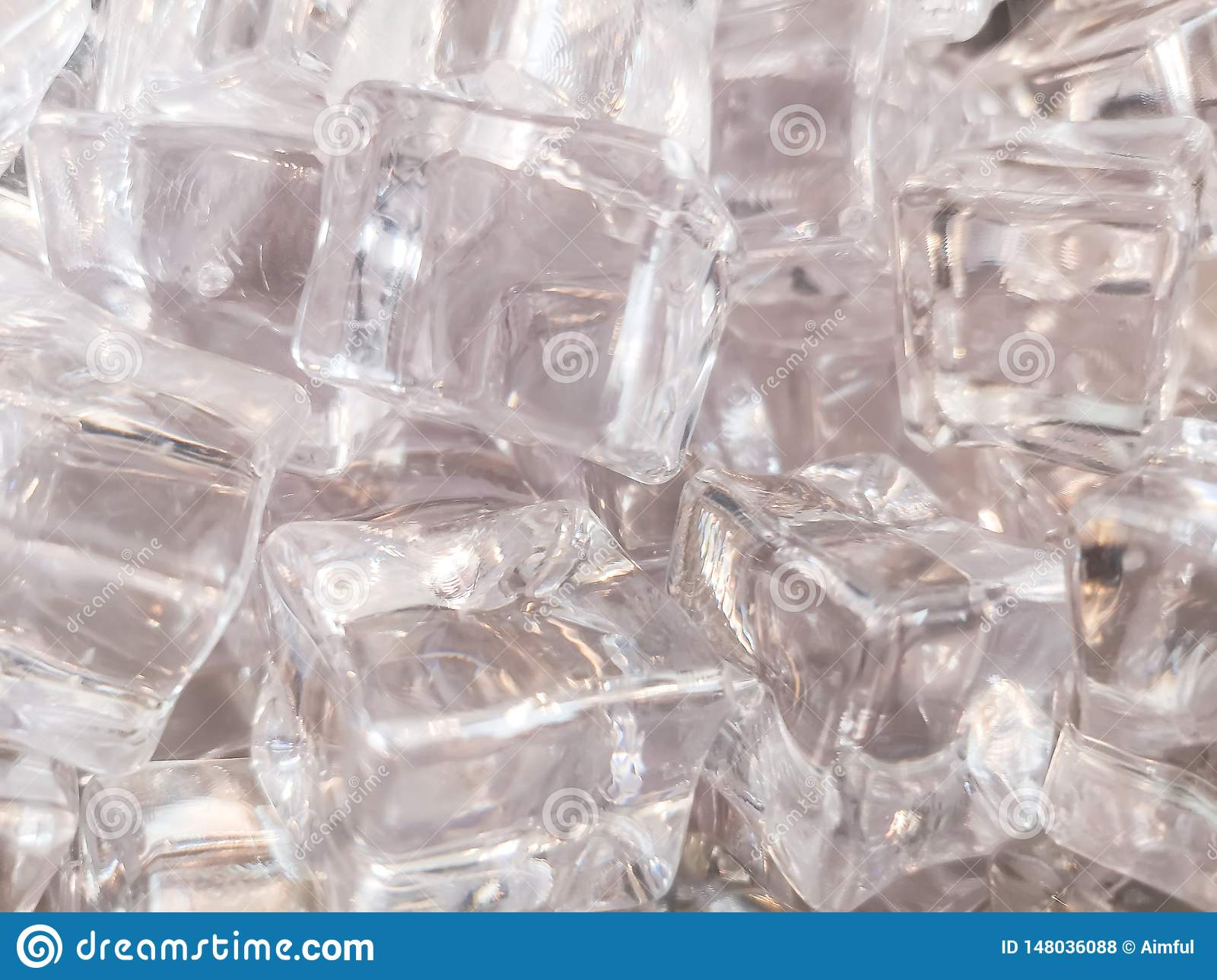 The texture of clean shiny and white square ice for background