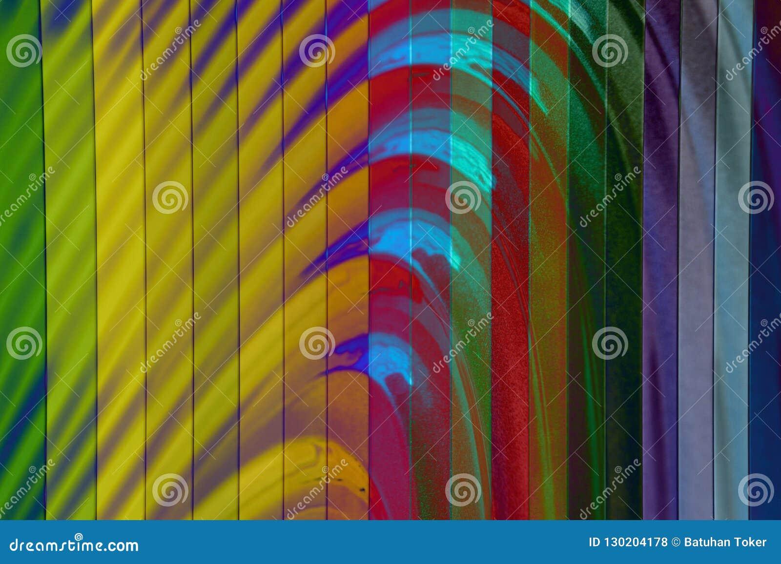 Texture colorée de mur, modèle abstrait, fond moderne de vague et géométrique onduleux de couche de chevauchement