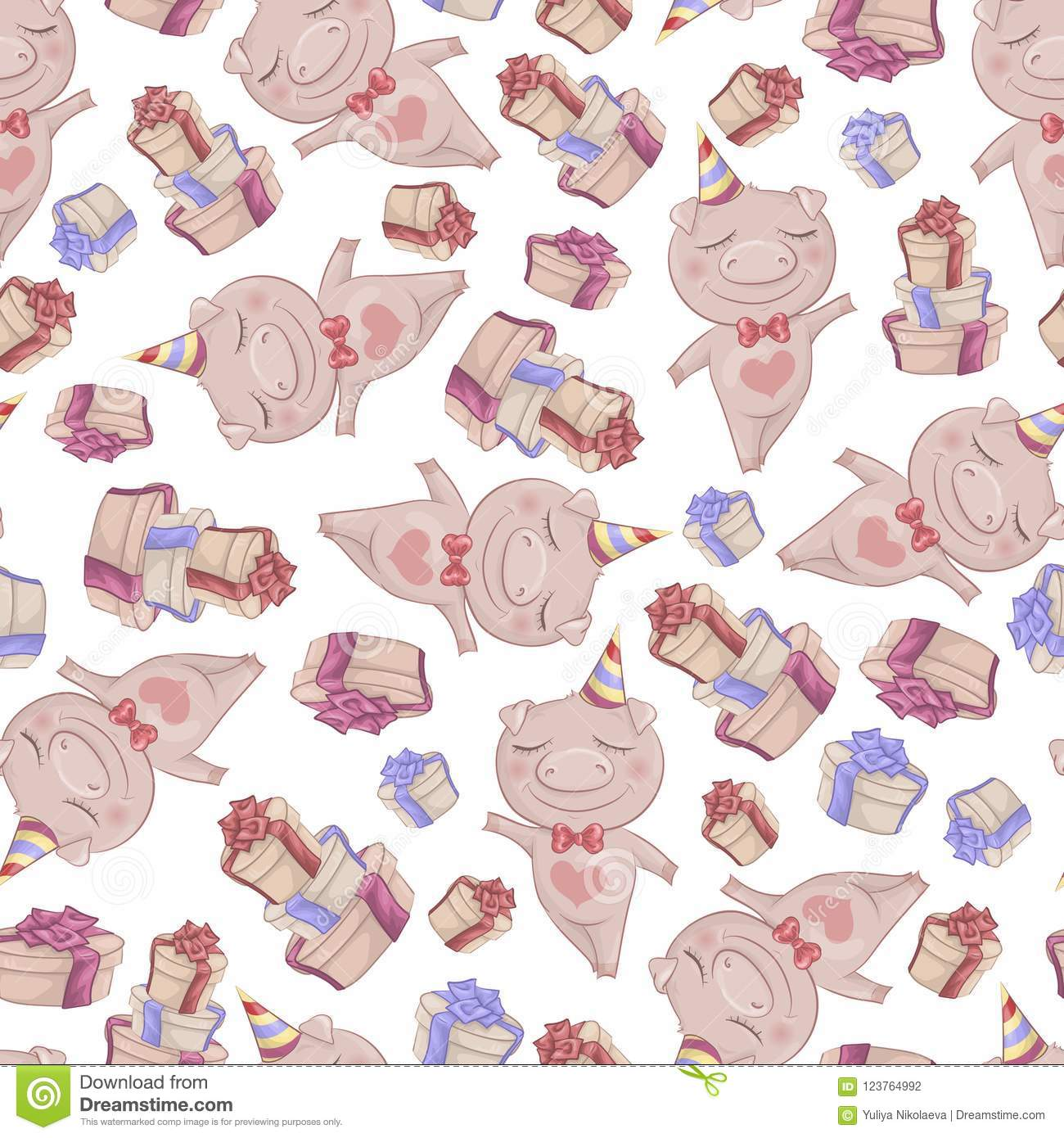 Texture with cute cartoon pigs. Seamless pattern