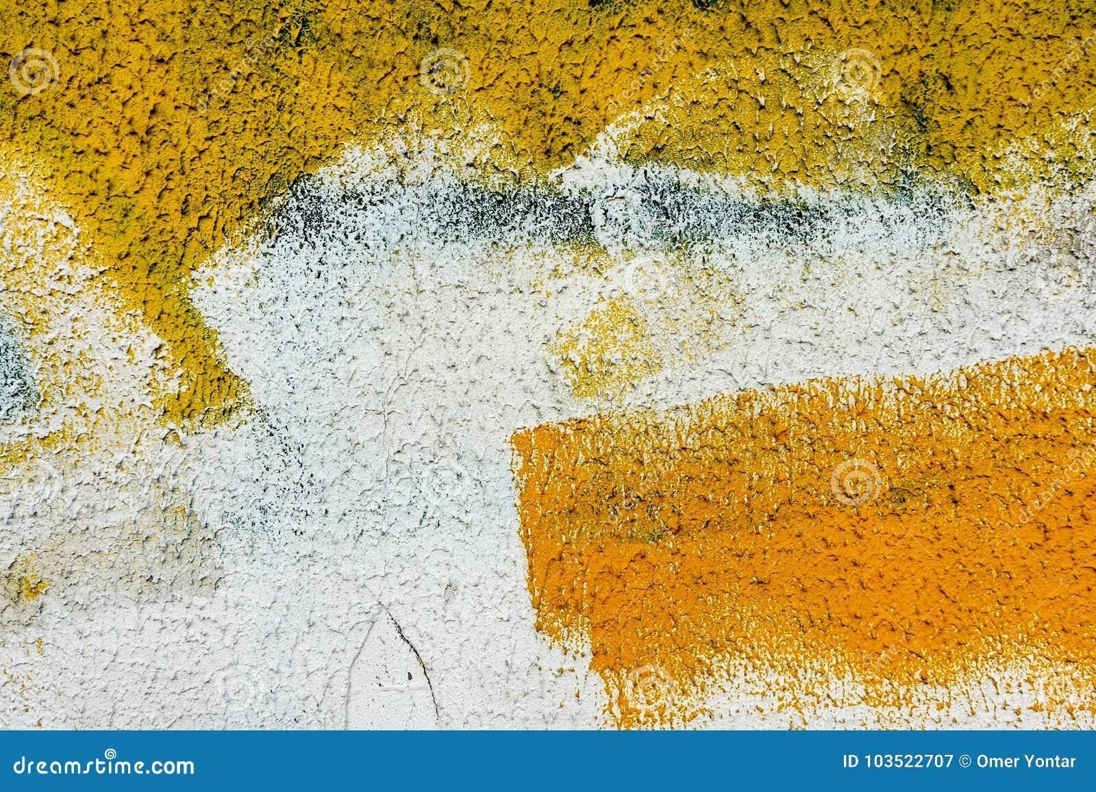 Texture D Abrégé Sur Peinture De Mur Jaune Pour La