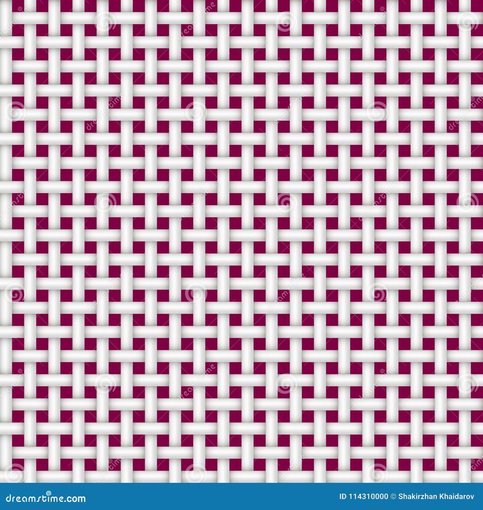Texture d un blanc sans couture de rotin sur un fond rouge