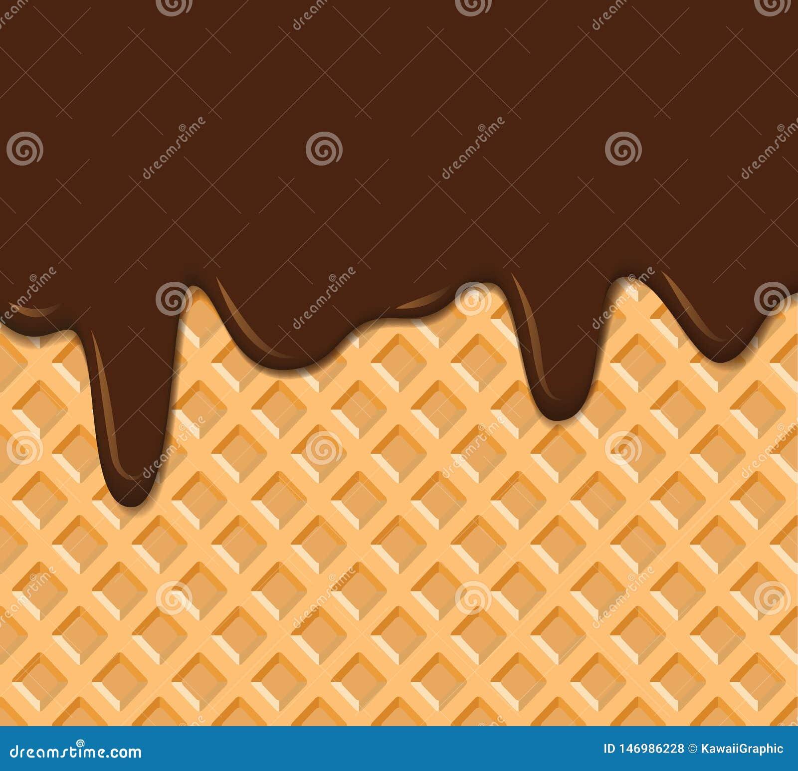 Texture de gaufre avec l illustration fondue de vecteur de fond de chocolat