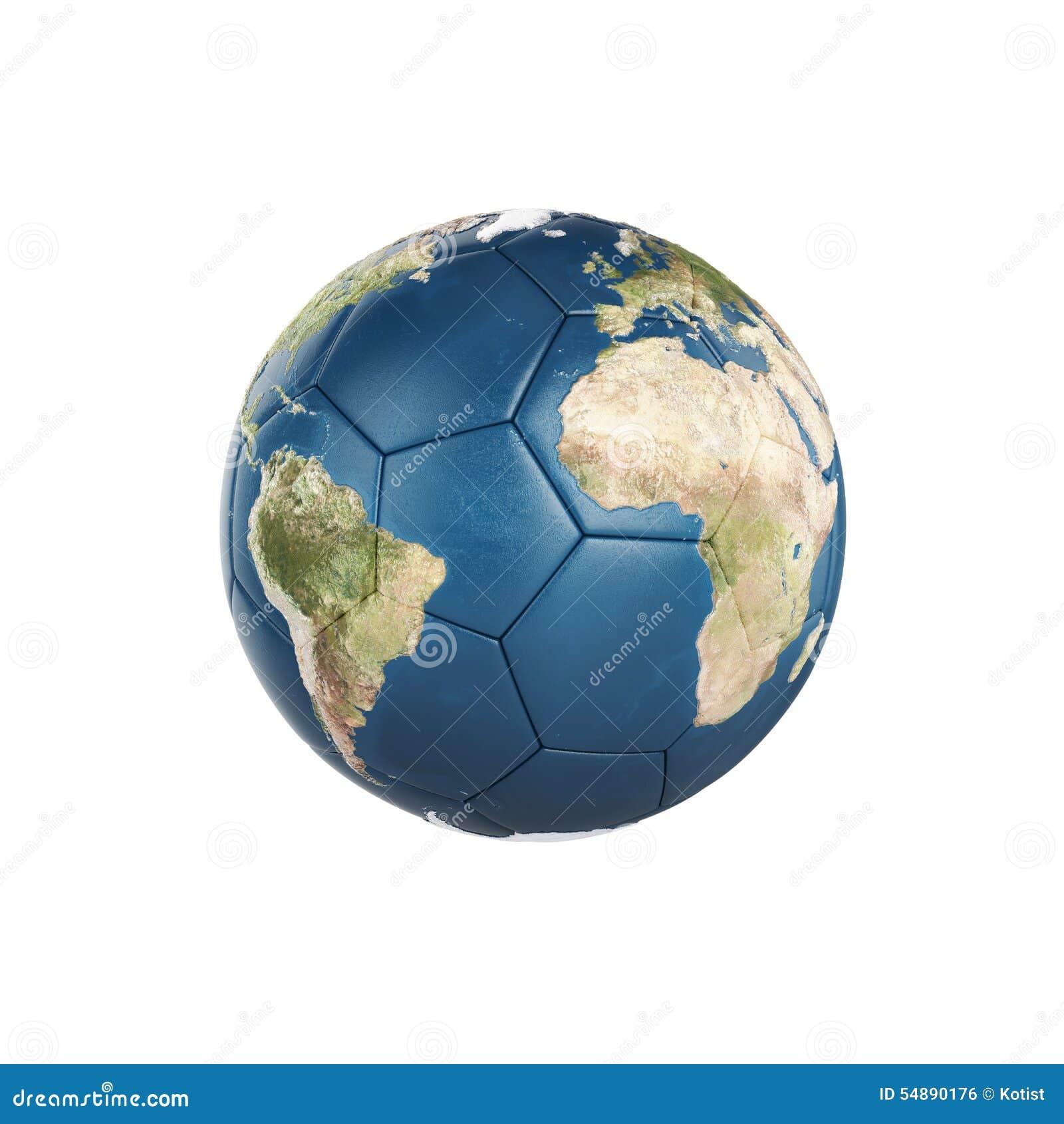 Texture de la terre de globe sur le ballon de football d isolement sur le fond blanc