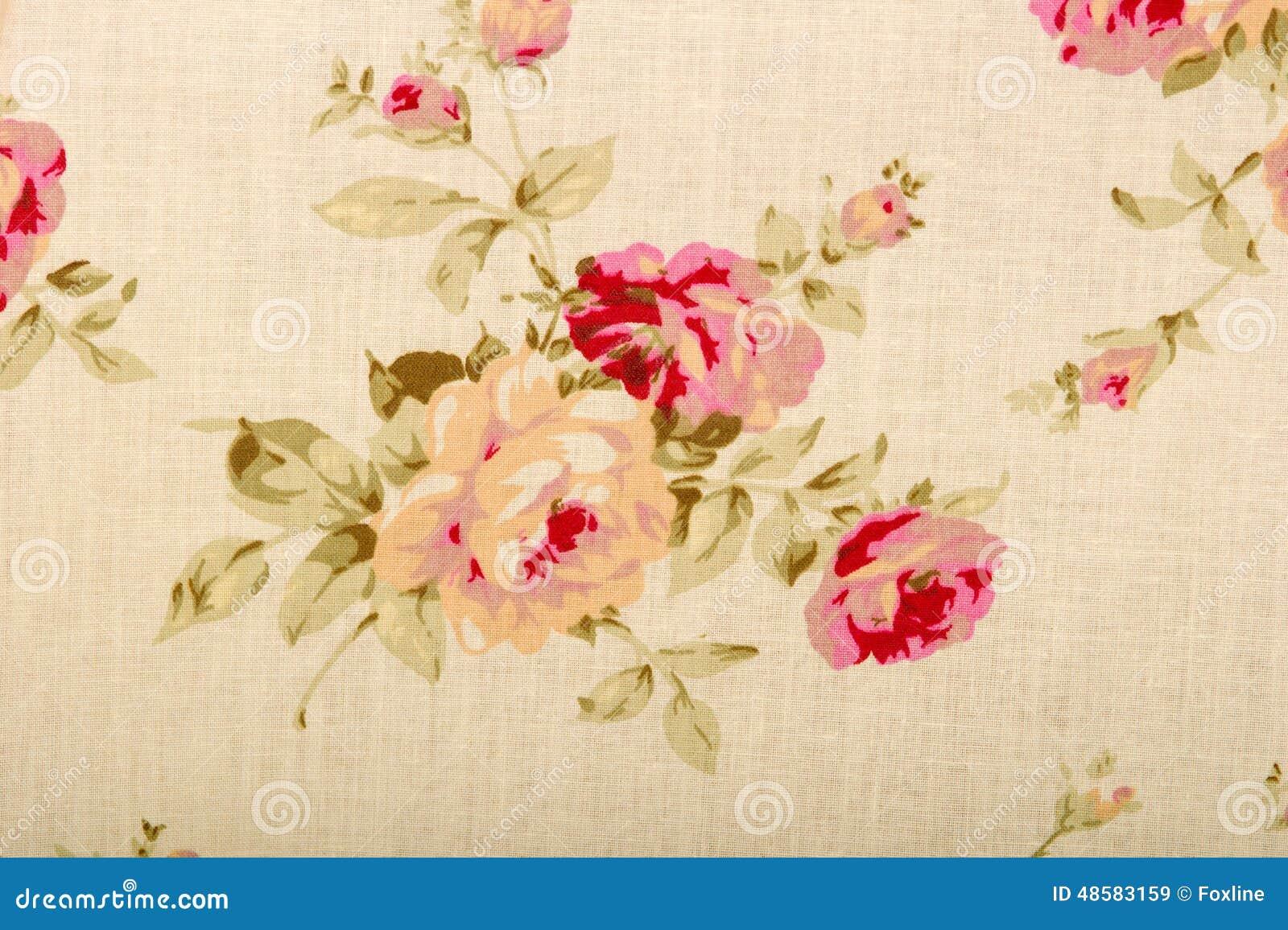 Texture De Toile De Tissu De Coton Avec Des Fleurs De Dessin Image
