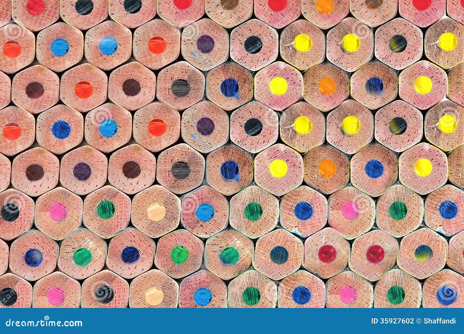 Texture des crayons colorés