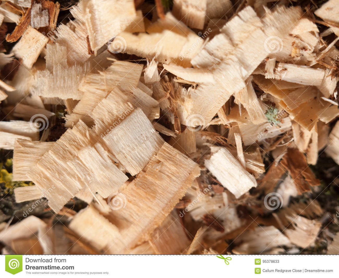 Texture and detail of wood chippings outside overhead