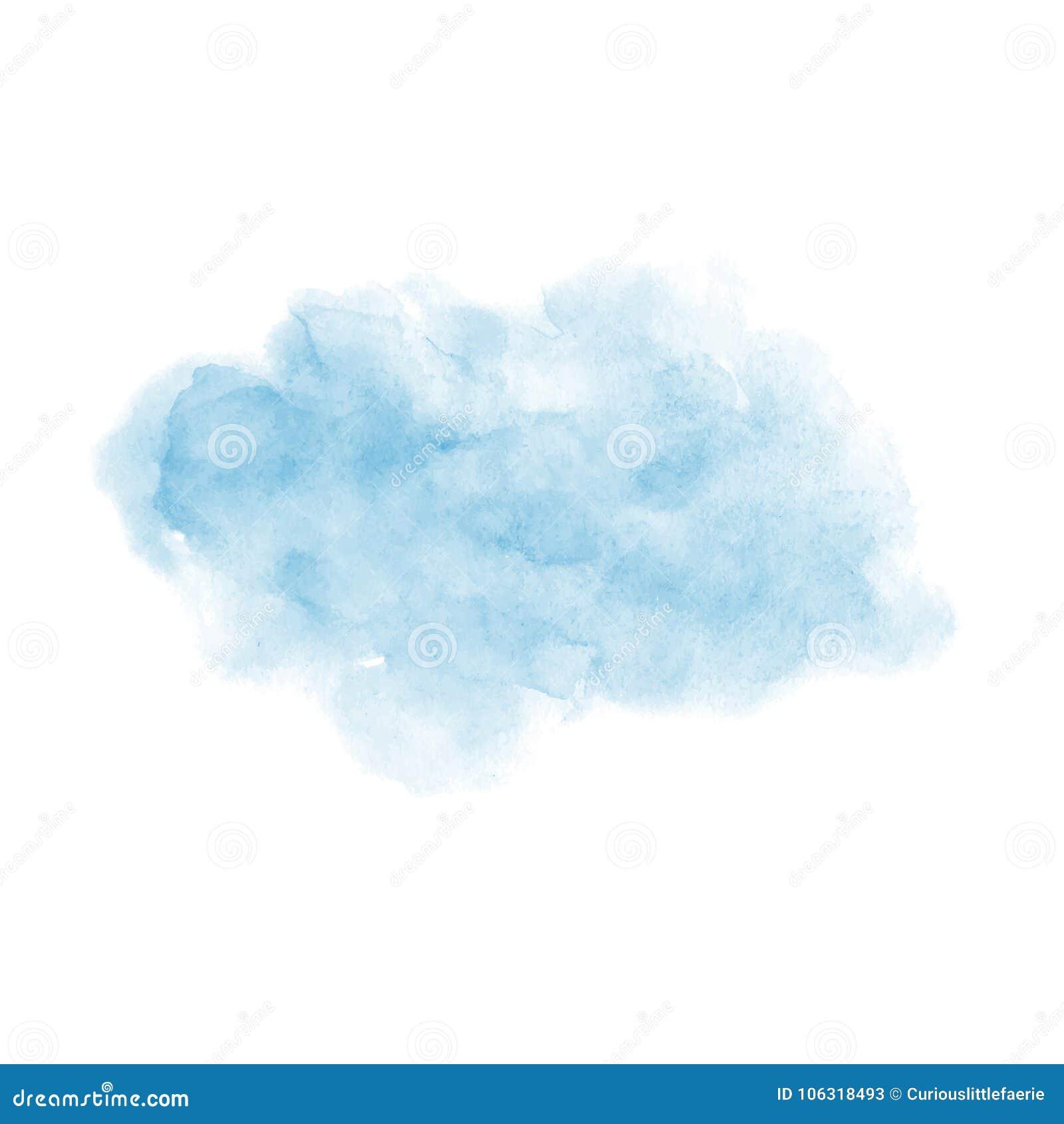 Texture douce de vecteur bleu peint à la main d aquarelle d isolement sur le fond blanc