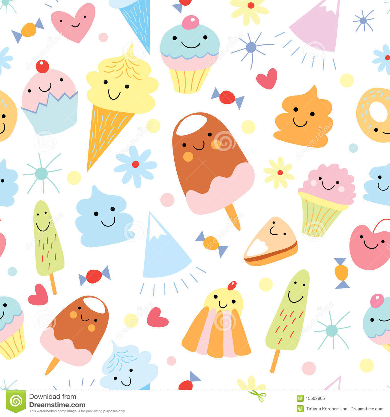 Seamless Ice Cream Wallpaper Royalty Free Stock Images: Texture Of Fun Ice Cream And Cake Stock Vector
