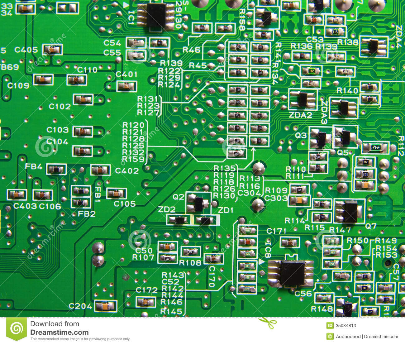 Texture, Green Circuit Board Stock Image - Image: 35084813