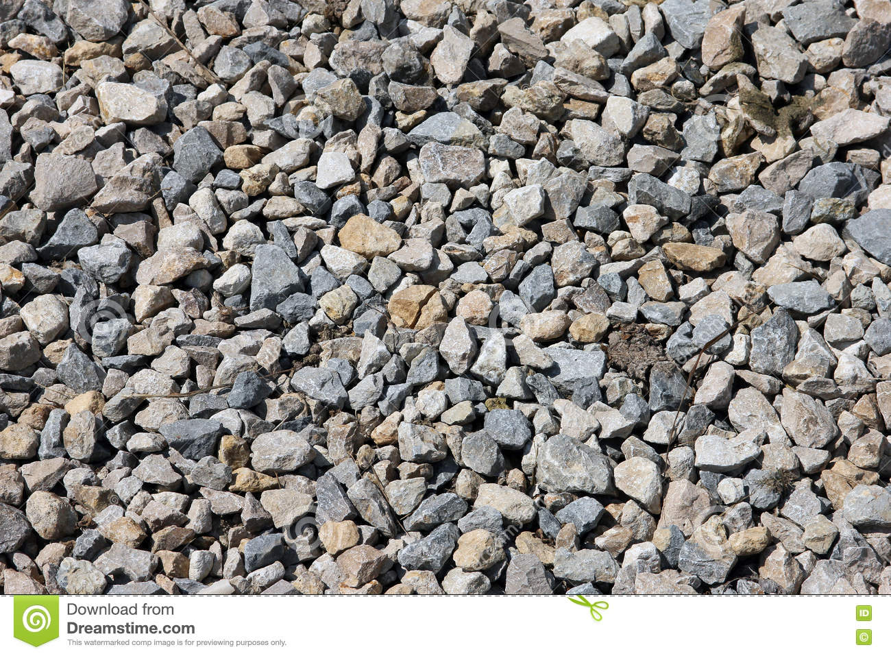 Crushed Granite Gravel : Texture grey color of the crushed granite and limestone