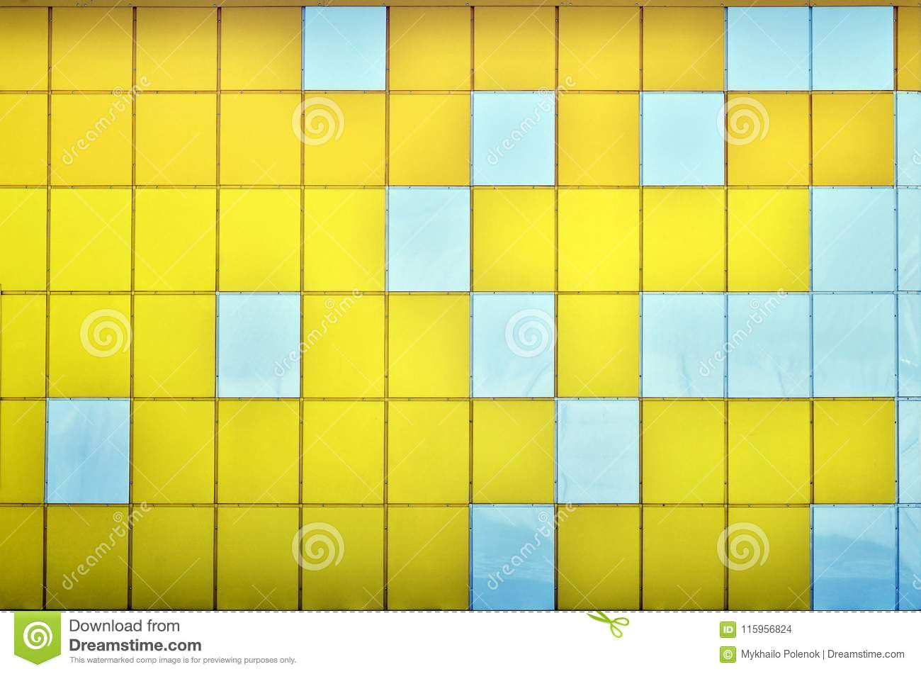 The Texture Of The Metal Wall, Framed In The Form Of Colored Squares ...