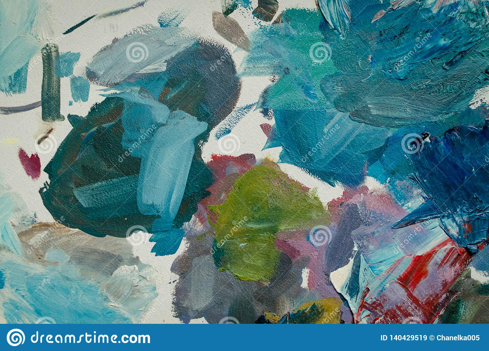 Texture Mixed Oil Paints In Different Colors Stock