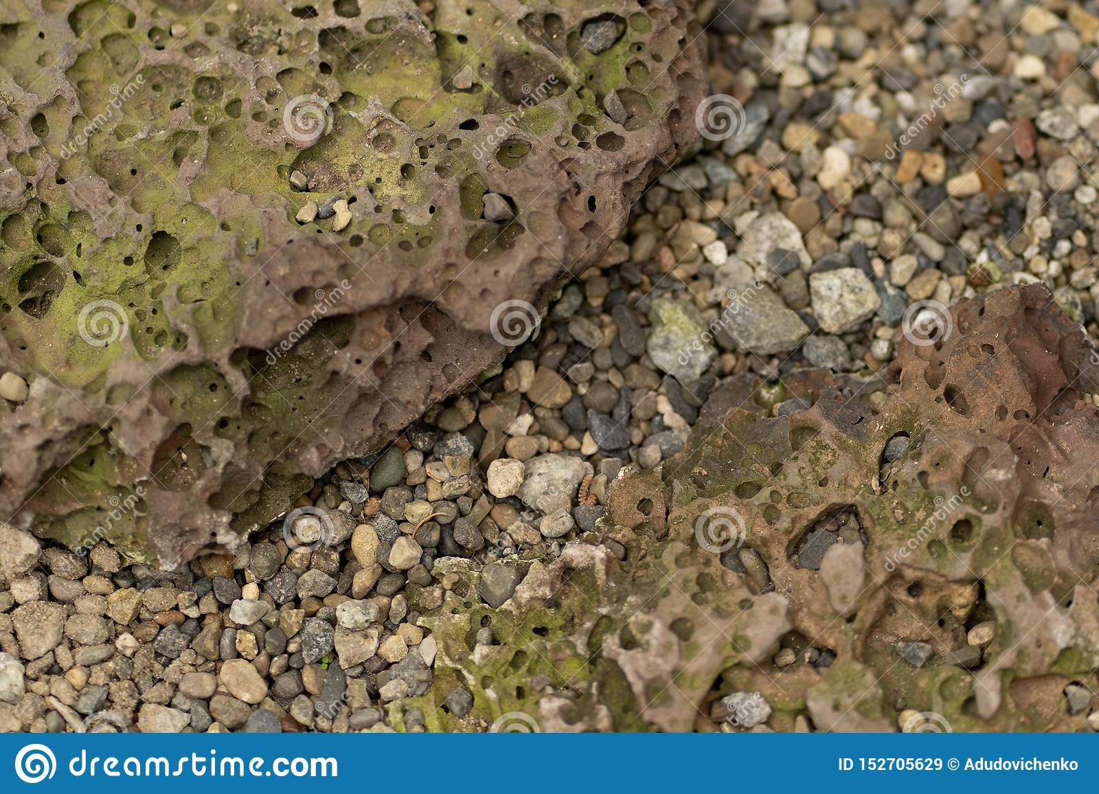 Photo texture of natural porous stone and gravel
