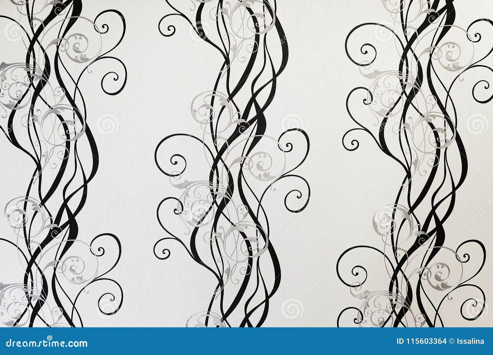 Texture Noire Et Blanche De Fond De Papier Peint Floral Photo Stock