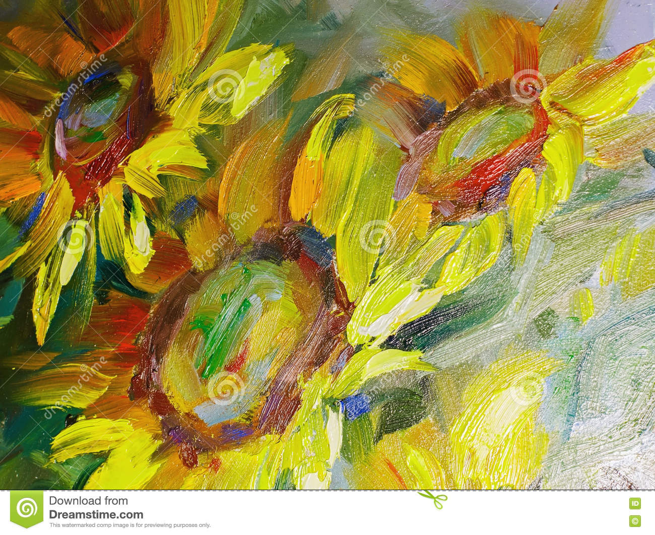 Texture Of Oil Paintings Flowers Painting Fragment Of Painted