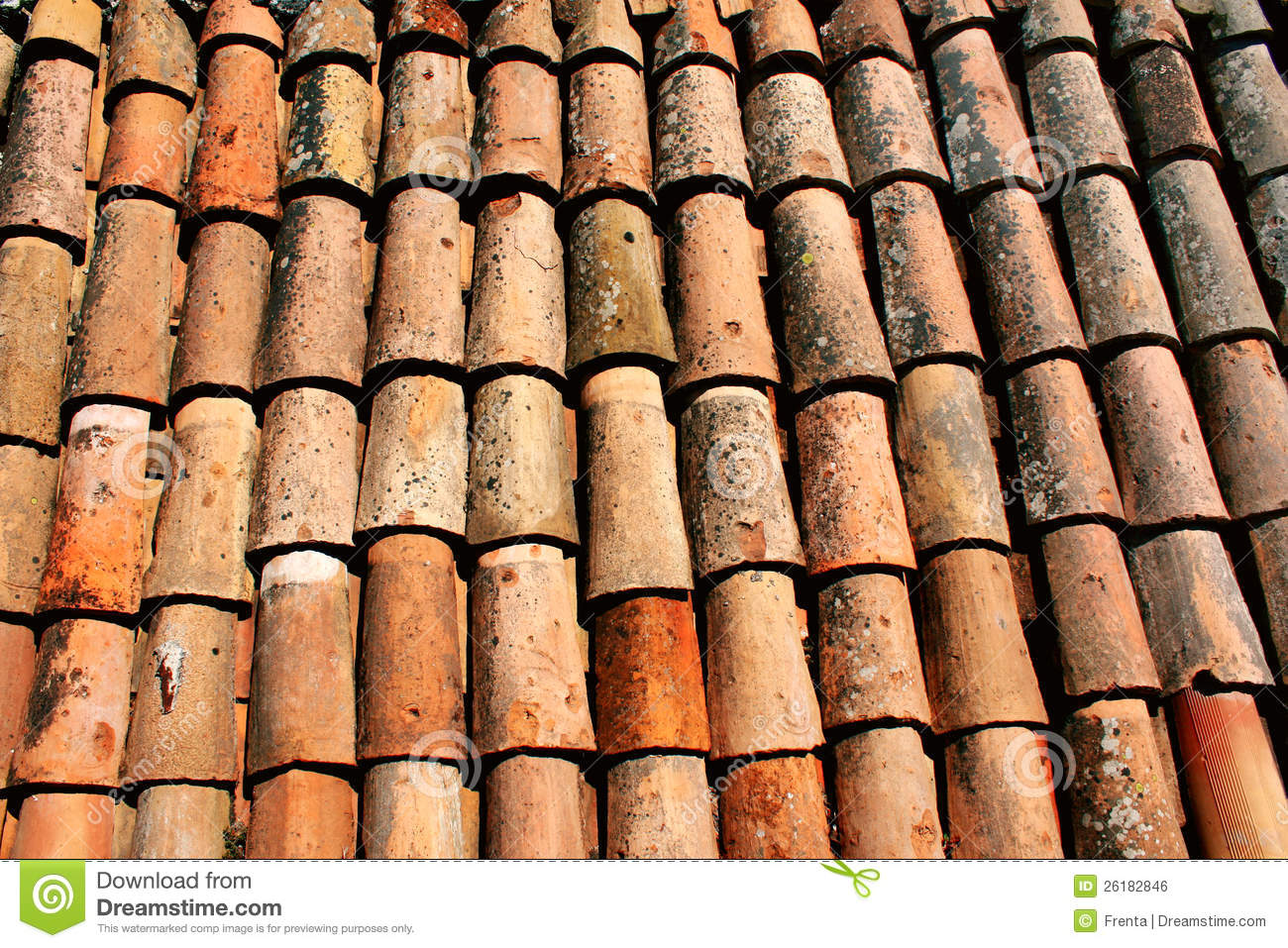 Texture Of Old Clay Tiles Stock Photo Image Of Exterior