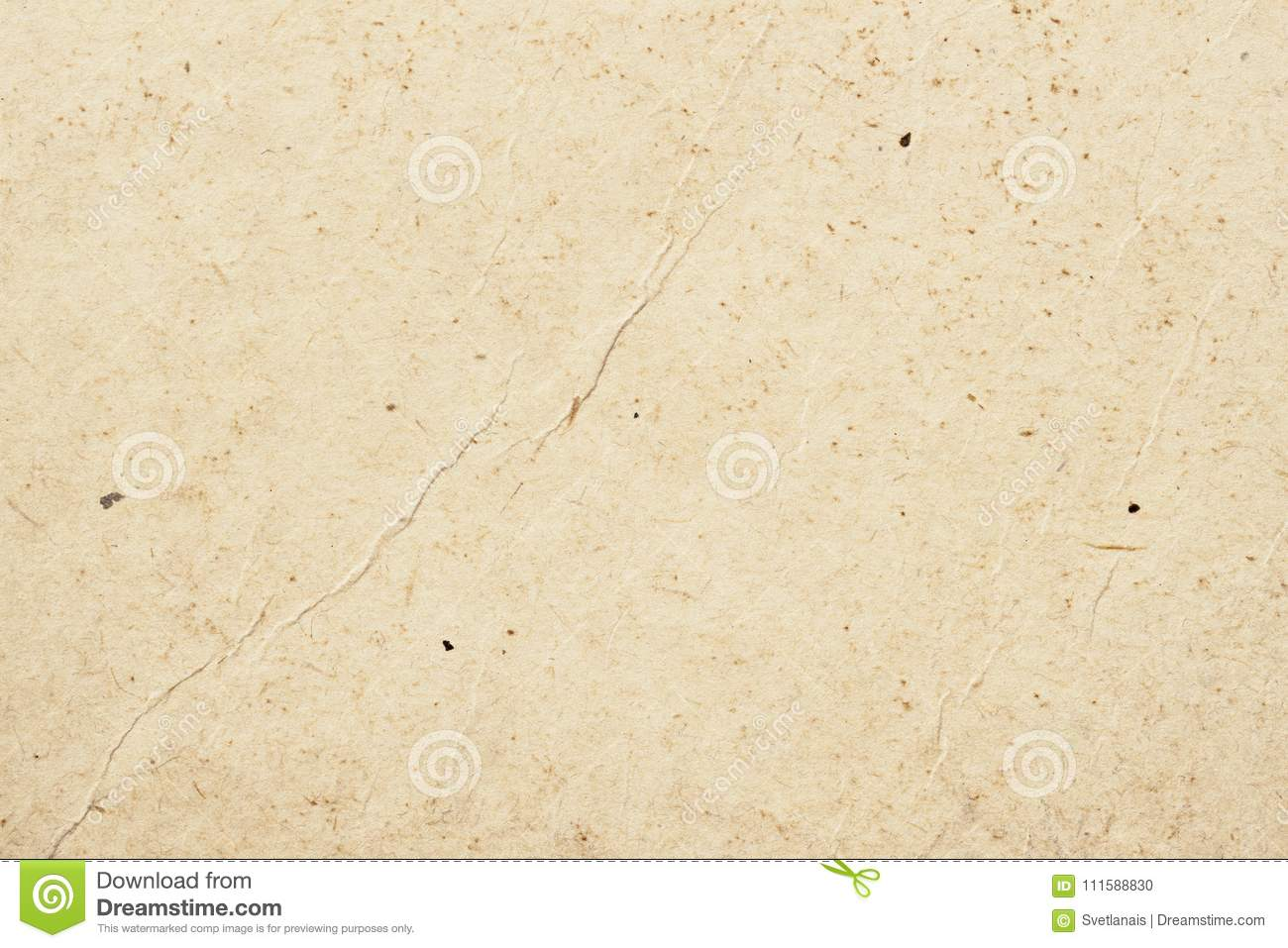 Texture of old organic light cream paper with wrinkles, background for design with copy space text or image. Recyclable