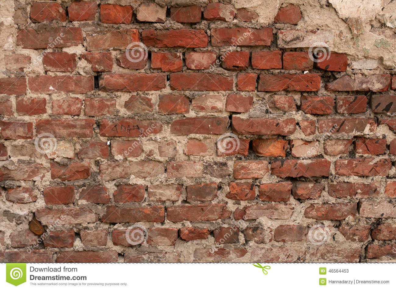 Texture Of Old Red Brick Wall With Remains Of Plaster