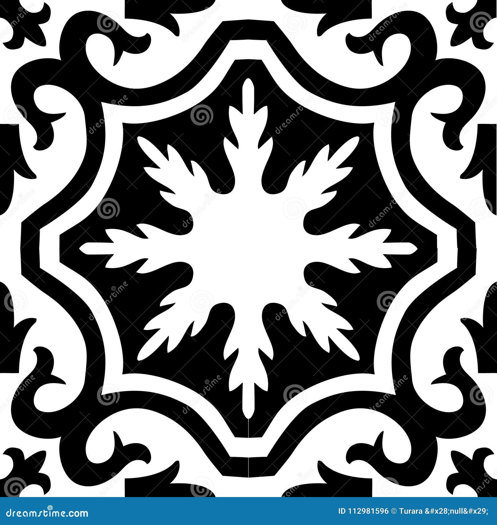 Mural black white ornament pattern