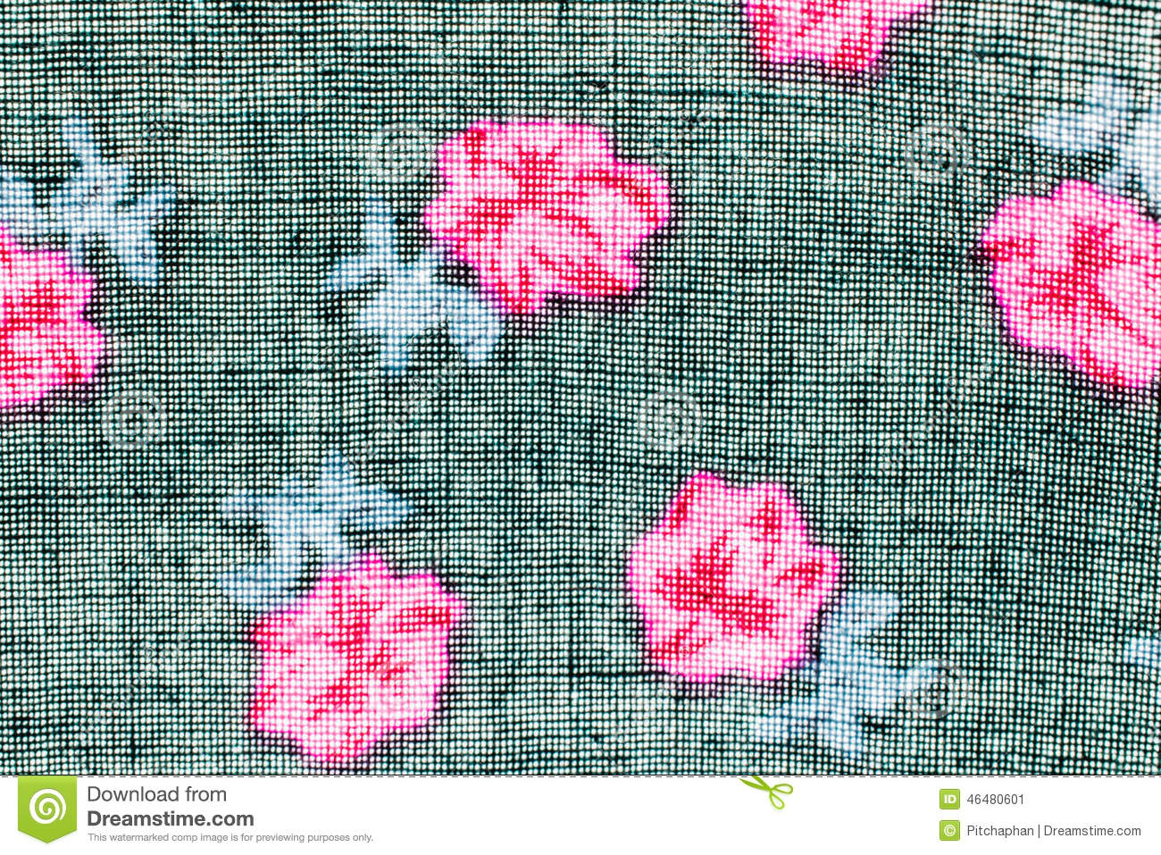Textureprint And Wale Of Fabric Black And Pink Flowers Pattern