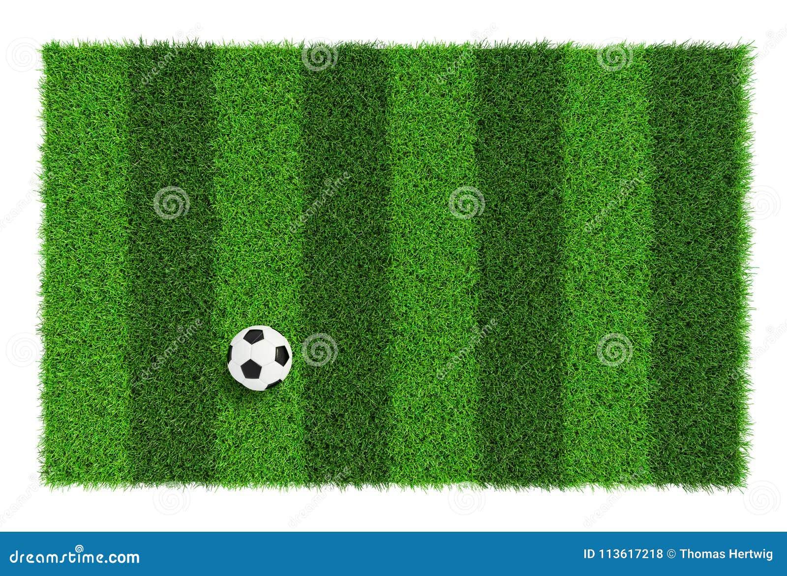 Texture rayée de terrain de football avec du ballon de football, fond avec la vue supérieure de l espace de copie - d isolement s