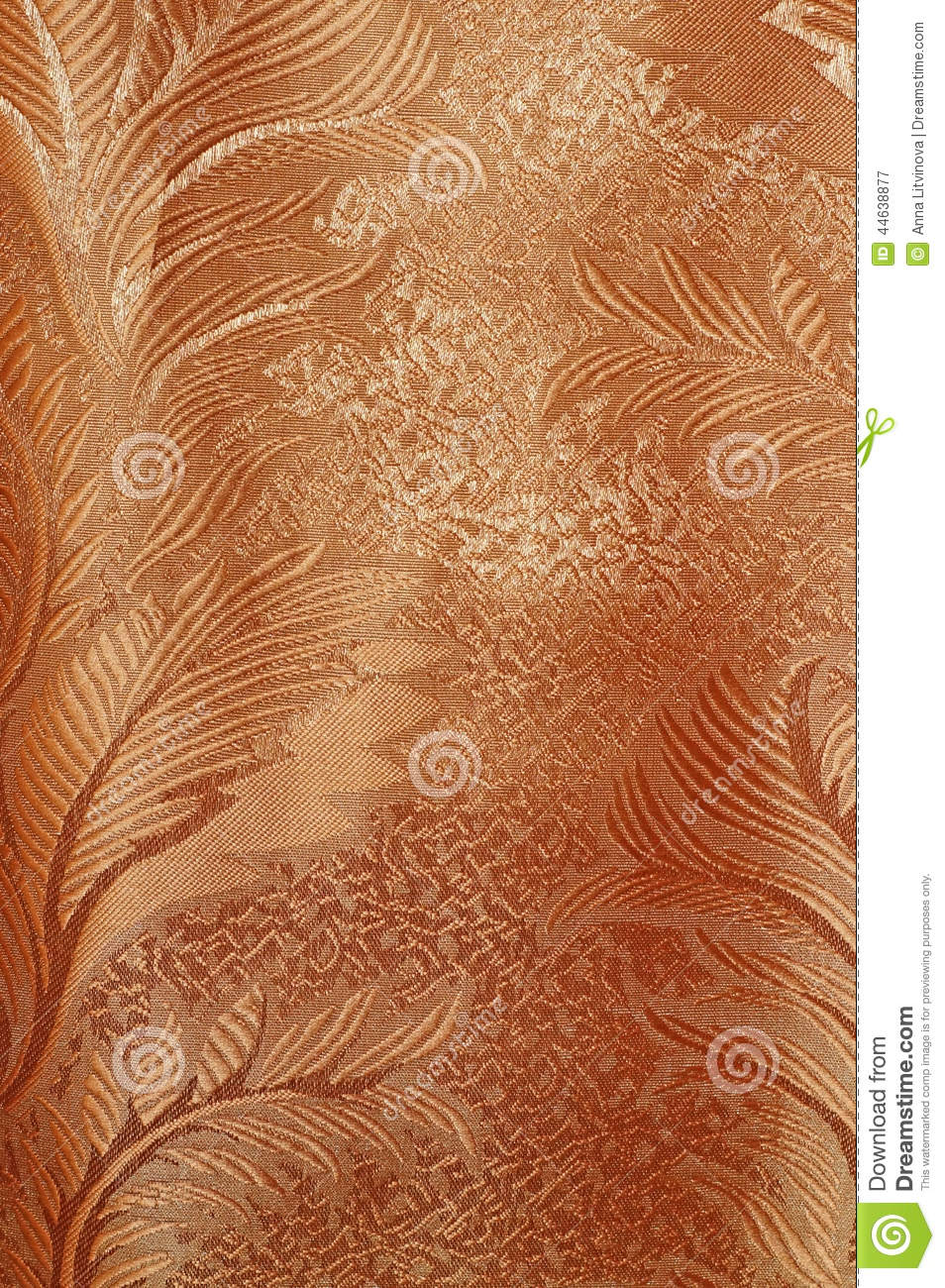 Red patterned curtains - Texture Of Red And Beige Satin Patterned Curtains With Folds Stock Photo