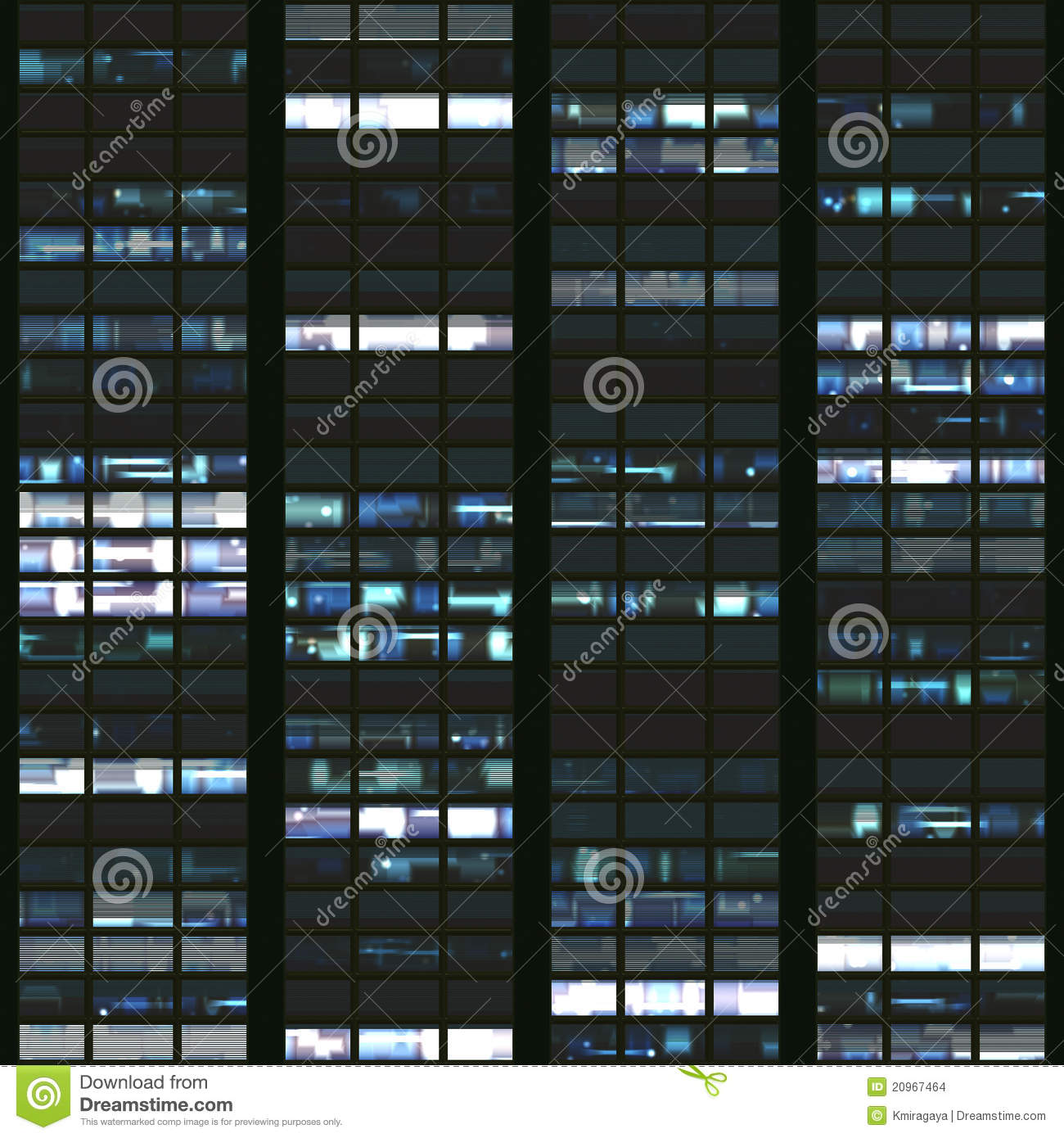 Seamless Texture Resembling Windows Of A Modern Skyscraper Illuminated At Night