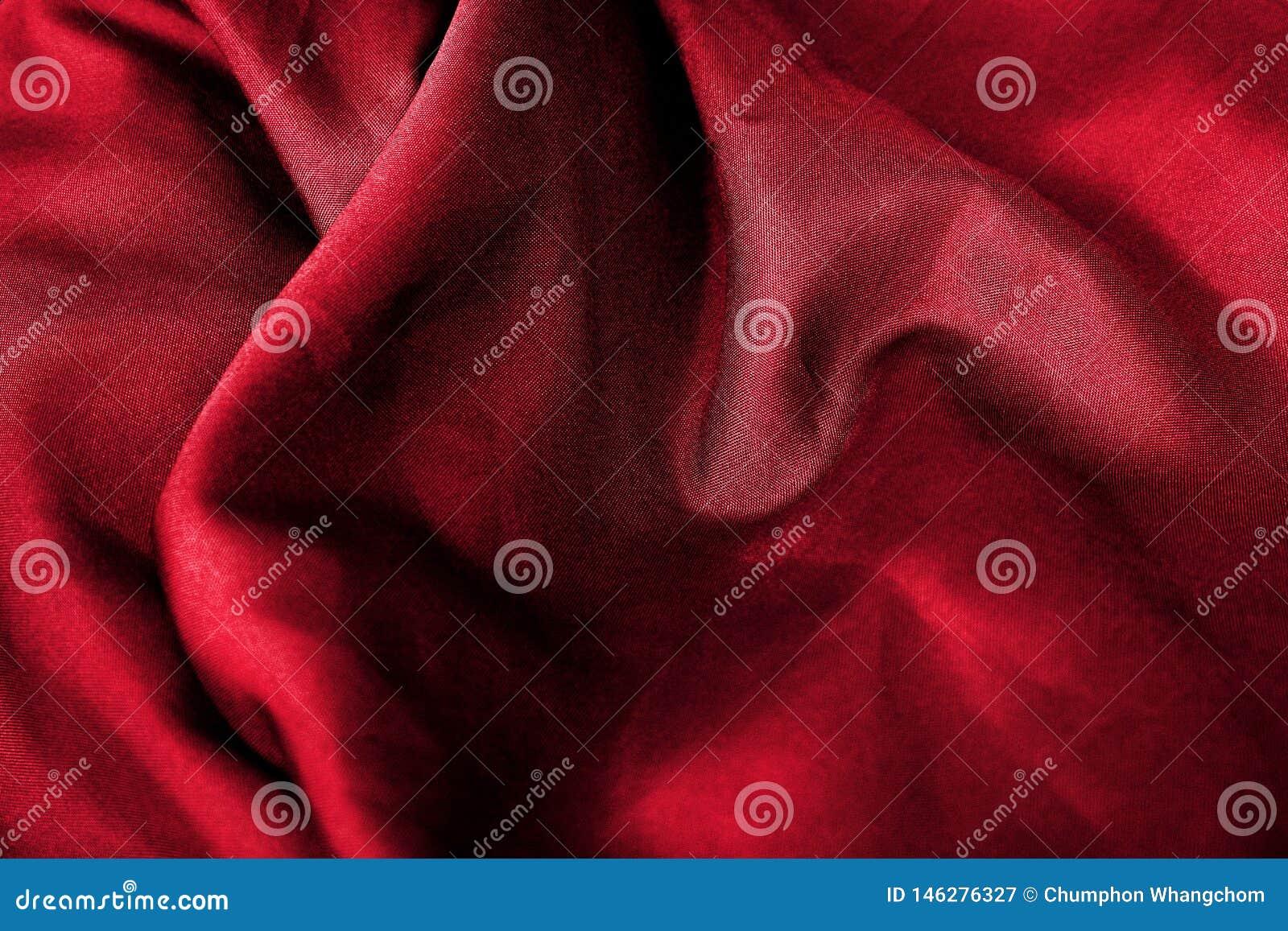 Texture rouge abstraite de fond de tissu Vagues de matériel de velours de satin