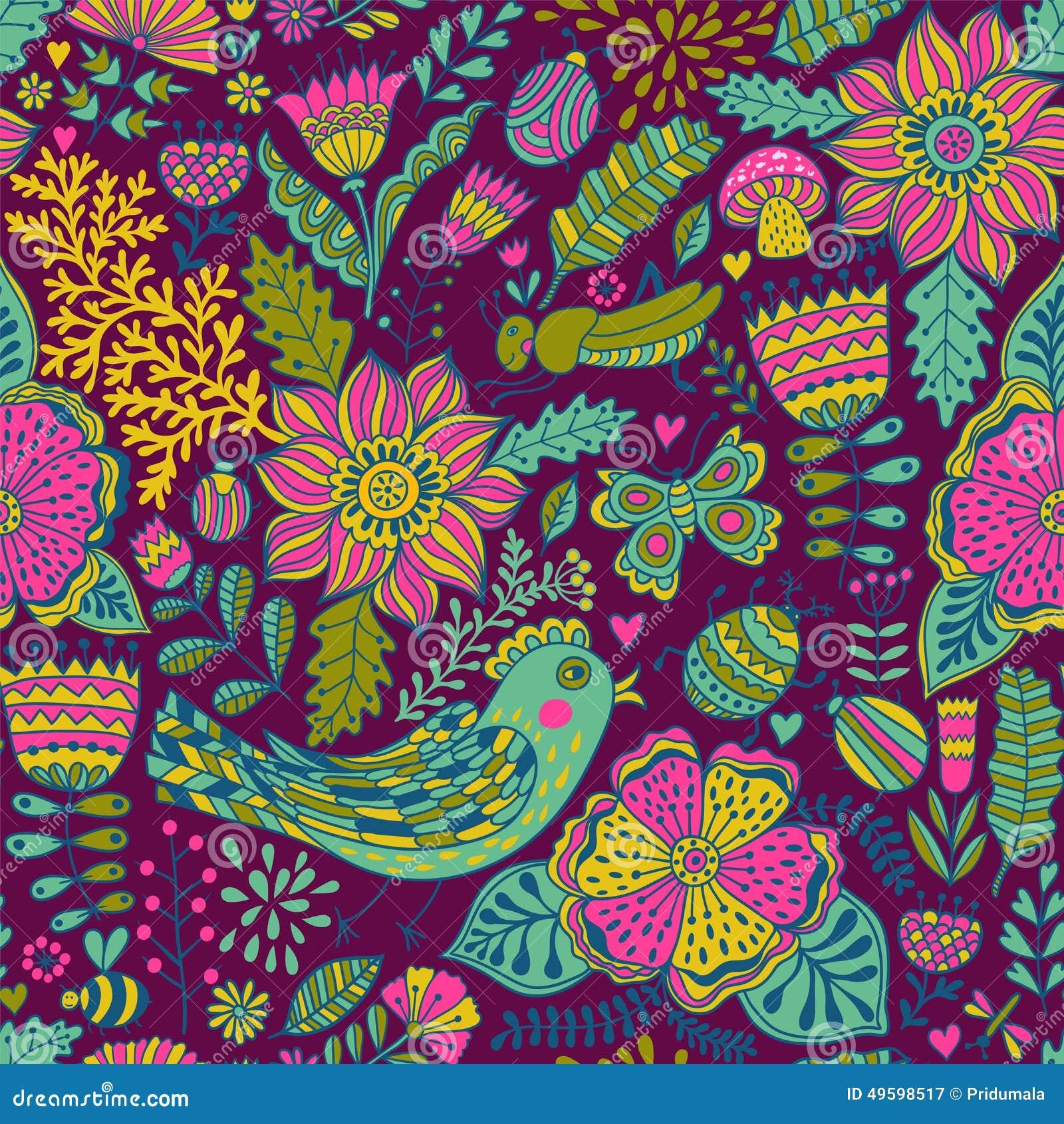 Texture sans couture avec des fleurs des oiseaux et des papillons peut tre - Papier peint avec motif ...