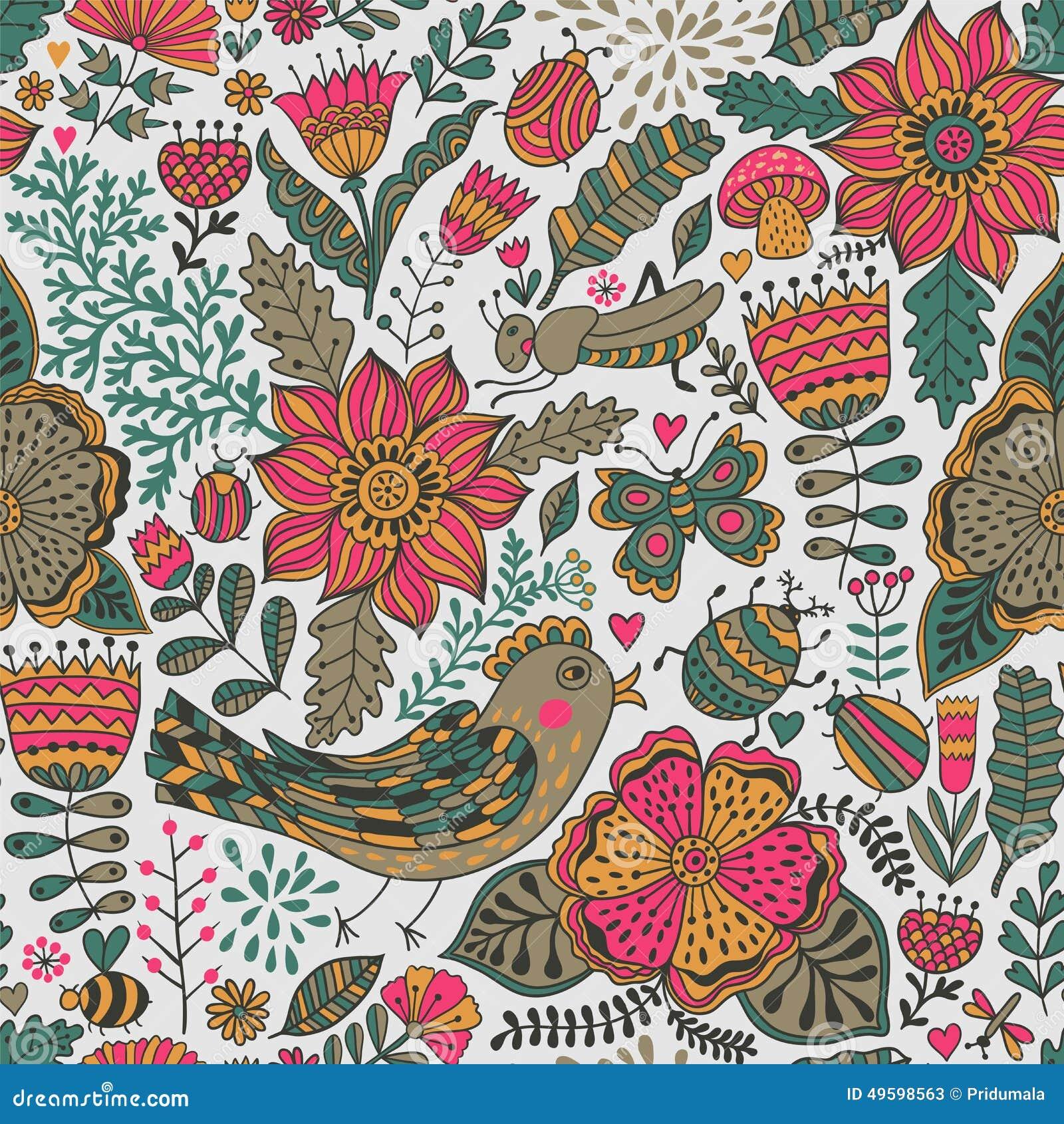 Papier Peint À Motifs destiné texture sans couture avec des fleurs, des oiseaux et des papillons