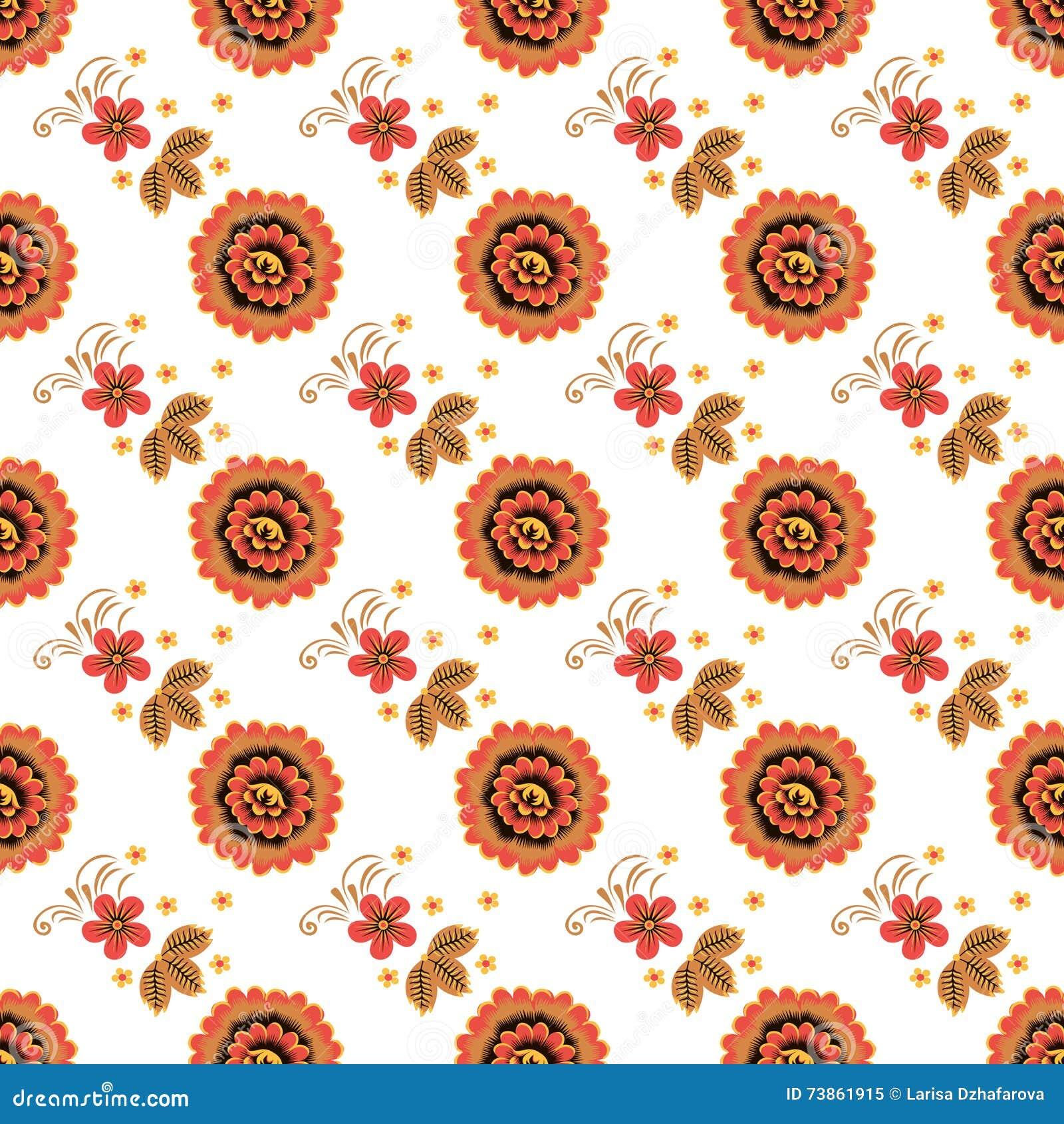 Texture Sans Couture Avec La Peinture De Khokhloma ENV 10 Illustration Stock - Image: 73861915