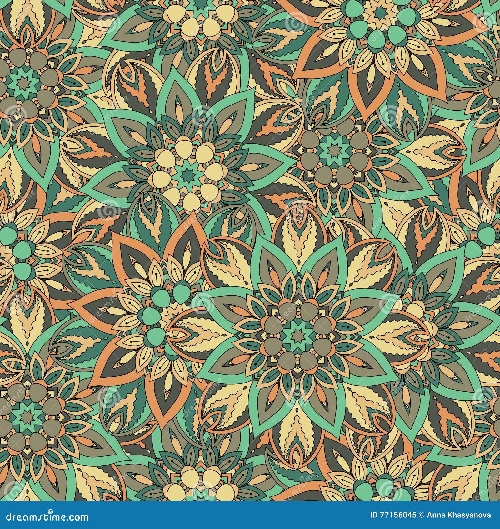 Texture sans couture florale fleurie, modèle sans fin avec des éléments de mandala de vintage