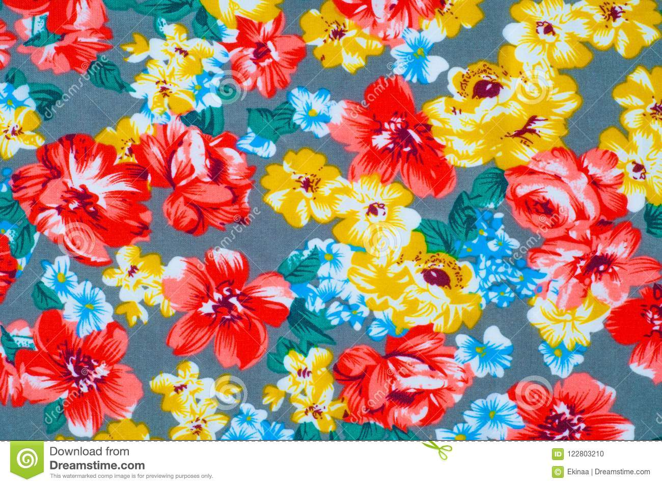 Texture Silk Cloth Yellow Red Flowers Painted On Cloth Stock Photo