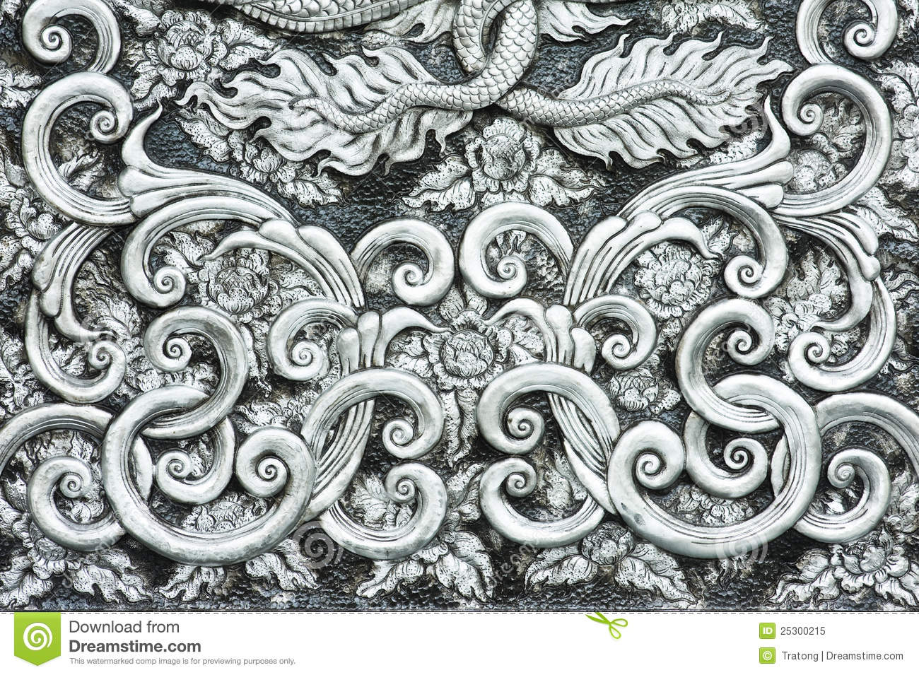 Vintage baroque floral golden ornament vector stock vector image - Texture Of Silver Metal Plate Royalty Free Stock Photo