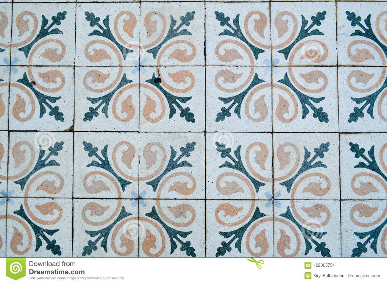 The Texture Of Square Ceramic Tiles With Patterns From Traditional ...