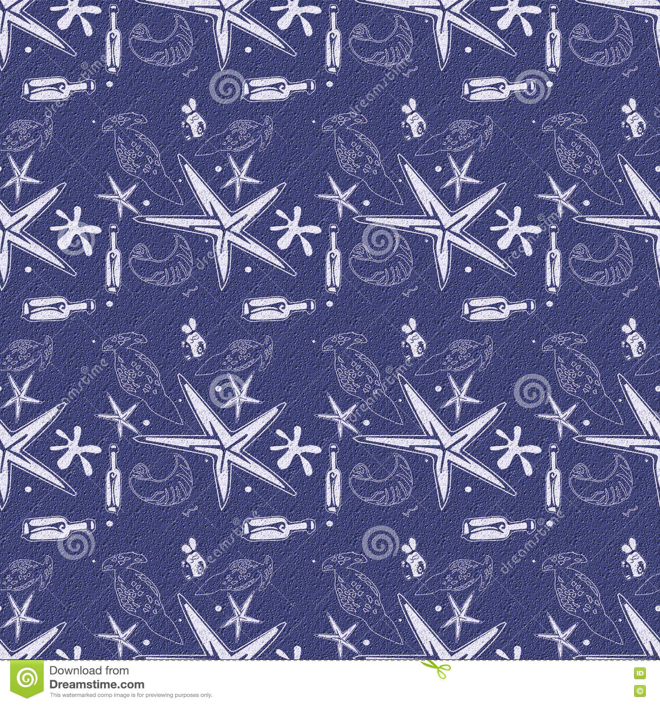 Texture Summer Bottles Sea Star Fish And Shell Blue Seamless Pattern